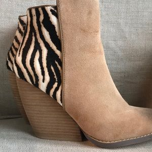 Never worn suede wedge booties -